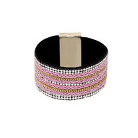 One Stop Fashion Stylish Pink Colour Foam Leather Bracelet for Girls & Women, 38, pink