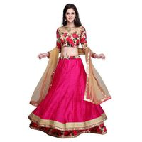 Pink Embroidered Bhagalpuri Silk Lehenga Choli