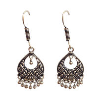 Black feather style earring, black