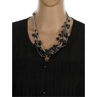 One Stop Fashion Stylish and Elegant Black Colour Beads Neckpiece for Girls & Women, 55, black and silver