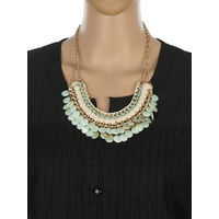 One Stop Fashion Elegant and Stylish Green Colour Coins Neckpiece for Girls & Women, 120, green and cream