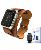 PU Leather Watch Band Strap with screen protector for 38mm Apple Watch Black