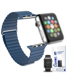 Magnetic Leather Strap with screen protector for Apple Watch 38mm Blue