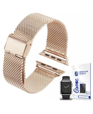 Stainless Steel Mesh Wrist Strap with screen protector for Apple Watch 38mm Rose Gold