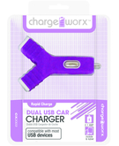 Charge Worx Dual USB Y Shape Car Charger,  Purple