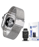 Stainless Steel Mesh Wrist Strap with screen protector for Apple Watch 38mm Silver