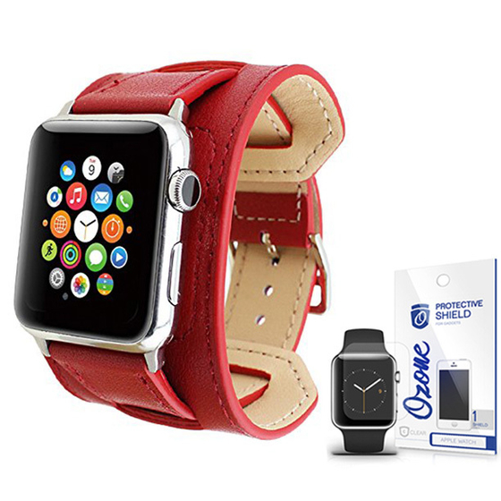 PU Leather Watch Band Strap with screen protector for 38mm Apple Watch Red
