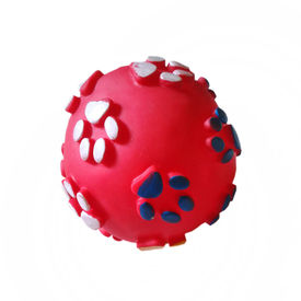 Vinyl Paw Printed Squeaky Ball Dog Toy, large, assorted