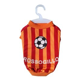 Nunbell Rossogillo Soccer Jersey or Tshirt for Toy Breed Dogs, 10 inch, orange  red stripes