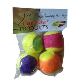 Canine 4 x 1 Tennis Ball Cat Toy, 2 inch, multi colour