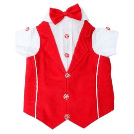 Zorba Party Tuxedo Suit for Large Breed Dogs, 30 inch, red & white