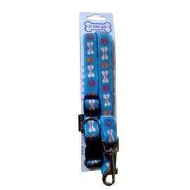 Printed Collar and Leash Set for Small to Medium Dogs, blue