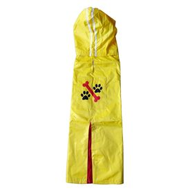 Rays Deluxe Printed Raincoat for Medium to Large Dogs, bone paw, 24 inch, yellow