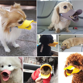 Dougez Silicone Anti Bite Duck Mouth Shape Muzzle for Toys to Medium Breed Dogs, medium, yellow, small