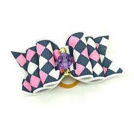 Puppy Love Designer Fancy Hair Bow, checkers, navy pink
