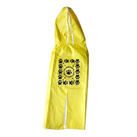 Rays Deluxe Printed Raincoat for Small Dogs, paws, 18 inch, yellow