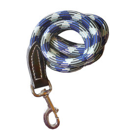 Canine Heavy Duty Thick Leather Rope Lead for Medium and Large Dogs, blue