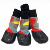 Puppy Love Anti-Slip Waterproof Sock Shoes for Medium Breed Dogs, grey, medium