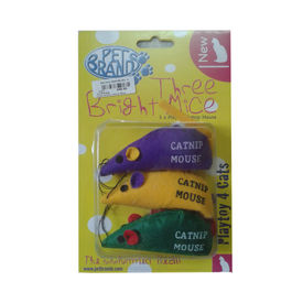 Petbrands 3 X Playtoy Mouse Catnip, assorted