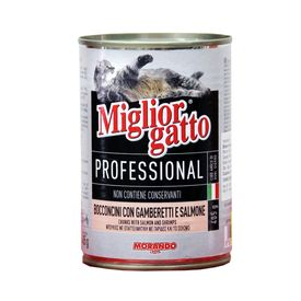 Miglior Gatto Professional Chunks with Salmon & Shrimps Can Cat Food, 400 gms