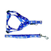 Canine Nylon Paw Print Body Harness Set for Small Breed Dogs, blue, m