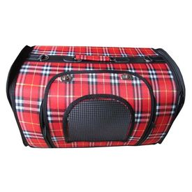 Designer Pet Carry Bag for Puppies & Cats and Small Dogs, red checkers