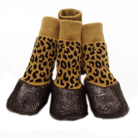 Puppy Love Anti-Slip Waterproof Sock Shoes for Large Breed Dogs, yellow cheetah, extra large