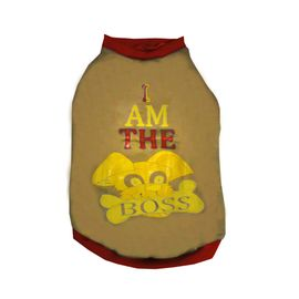 Rays Fleece Warm I am Boss Rubber Print Tshirt for Large Dogs, 28 inch, brown