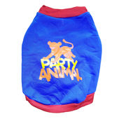 Rays Fleece Warm Rubber Print Tshirt for Toy Breed Dogs, 12 inch, blue party animal
