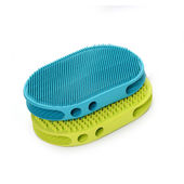 Canine Thick Rubber Massaging & Cleaning Pet Brush, blue