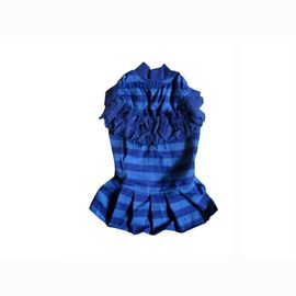 Zorba Designer Striped Frock for Toy Breed Dogs, 10 inch, blue