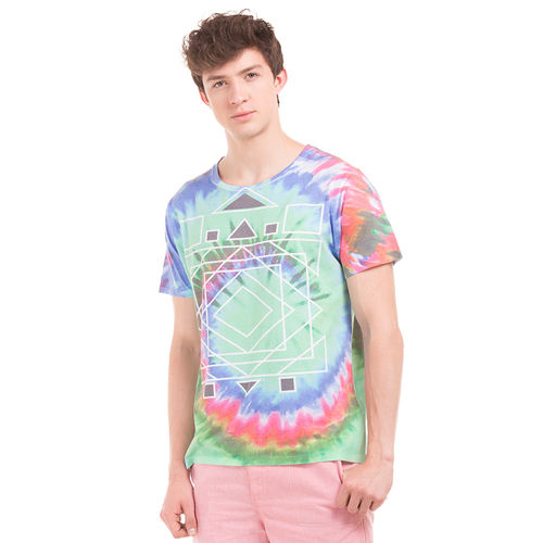 PICTON Electric Green Regular Fit All Over Print T-Shirt,  green, xxl