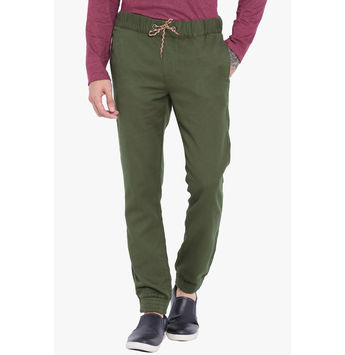 Breakbounce Mbeya Slim Fit Solid Woven Joggers,  olive, 32