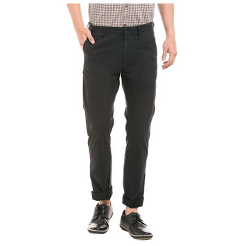 MILTON BLACK Slim Fit Solid Trouser,  black, 30