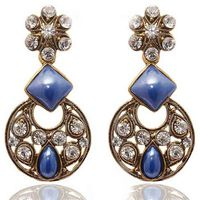 Kriaa Austrian Diamond Antique Gold Blue Earrings