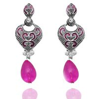 Kriaa Antique Silver Pink Meenakari Drop Earrings