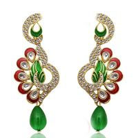 Kriaa Meenakari Austrian Diamond Red & Green Drop Earrings