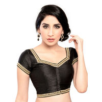 Moti & Stone laced ready made padded stitched blouse, golden, 40