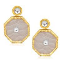 Kriaa Kundan Resin Octagon Gold Finish White Earrings