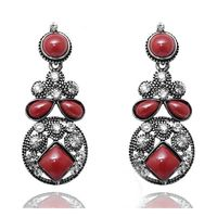 Kriaa Austrian Diamond Antique Silver Brown Earrings