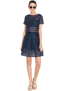 Navy Box-Pleated Skirt in Organdy, s, navy blue
