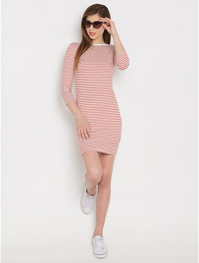 Striper Jersey Dress, xl, red and white