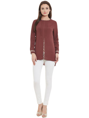 Brown Top with front slit, brown, m