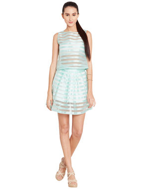 Mint Green Crop Top with white Tube top, m, sea green