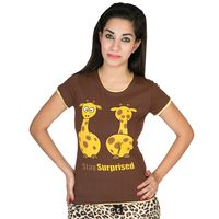 Stay Surprised(women's) Tee with trims, xs, brown  trims