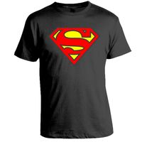 Superman Logo Printed T-Shirt, Men,  black, m