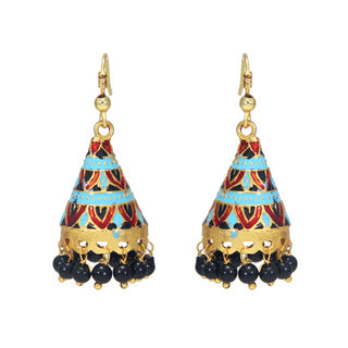 Multi Color Temple Design Earring In Meenakari