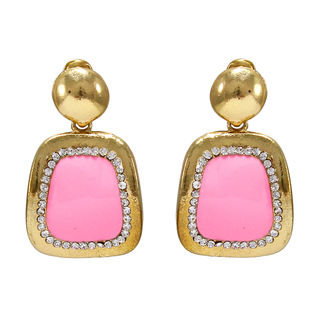 Dangling Pink Square With Golden Frame Earrings