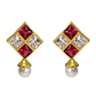 Pink And Golden Square Studs With Dangling Pearl