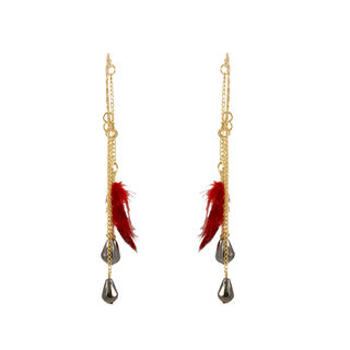 Red Feather Trendy Ear Cuff